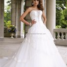 A-line Strapless White Lace Wedding Dress Custom Satin Tulle Beaded Bridal Ball Gown Gown