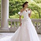 A-line Strapless Sweetheaert White Lace Wedding Dress Organze Bridal Ball Gown  Sz24 6 8 10+