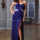 One Shoulder Blue Chiffon Bridal Evening Dress Pleated A-line Prom Dress Front Slit Formal Gown