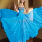 Strapless Blue Chiffon Bridal Evening Dress Pleated A-line Prom Dress Formal Gown