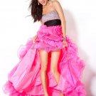 Sex Hot Pink Hi-Low Bridal Evening Dress Jeweled Organza Short Draped Prom Dress Formal Gown