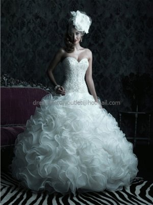 Strapless Sweetheart Bridal Ball Gown White Beading Cascading Organza A-line Wedding Dress C220