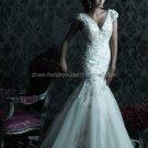 Cap Sleeves V-neck Bridal Ball Gown White Organza Beading Applique Mermaid Wedding Dress C221
