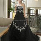 Strapless Bridal Gown Black Satin White Embroidery Beading A-line Wedding Dress