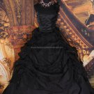 Vintage One Shoulder Bridal Gown Ruffled  Black Tulle Beading A-line Wedding Dress
