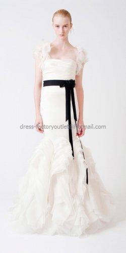 Sleeveless Bridal Ball Gown Black Sash White Organza Mermaid Wedding Dress Vera