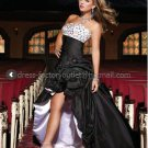 Strapless Bridal Gown Prom Dress Black White Satin A-line Hi-low Wedding Dress