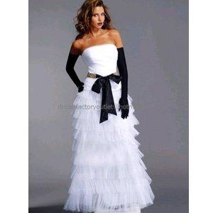 Strapless Bridal Ball Gown Tiered White Tulle Black Sash Free Gloves Wedding Dress