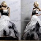 One Shoulder Bridal Ball Gown Black Tulle White Tulle Beading A-line Wedding Dress