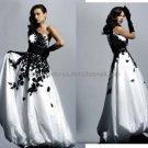 One Shoulder Bridal Ball Gown Black Applique White Taffeta Beading A-line Wedding Dress