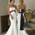 Strapless Bridal Prom Gown Black Red Sash White Satin Beading Mermaid Wedding Dress