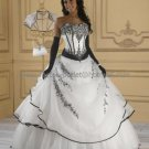 Strapless Bridal Ball Gown Black Embroidery White Organza  Beading A-line Wedding Dress