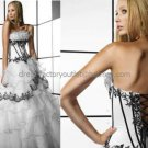 Strapless Bridal Ball Gown Black Applique White Organza  Beading A-line Wedding Dress