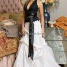 Halter Bridal Ball Gown Black Lace White Taffeta A-line Wedding Dress