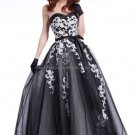 Strapless Sweetheart Bridal Ball Gown White Satin Black Lace Corset Top A-line Wedding Dress