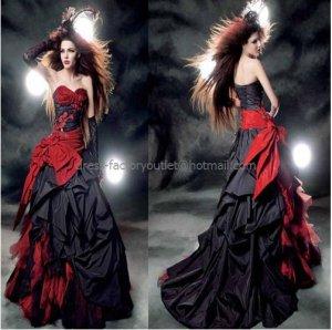 Strapless Bridal Prom Gown Red Black Halloween Dress A-line Wedding Dress Sz 4 6 8 10++