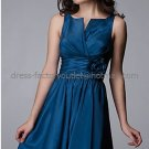 Double Straps  Blue Taffeta Ruffled Hand Flower Short Bridesmaid Prom Dress Formal Gown