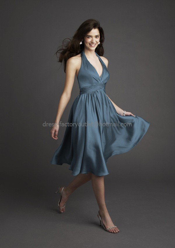Halter Short Bridesmaid Dress Steel Blue Chiffon