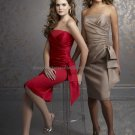 Strapless Short Bridesmaid Dress Red Brown SATIN Knee Length Homecoming Dress Pleated Cocktail Dress