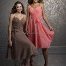 Thin Straps Short Bridesmaid Dress Corak Brown Chiffon Homecoming Dress Pleated Cocktail Dress