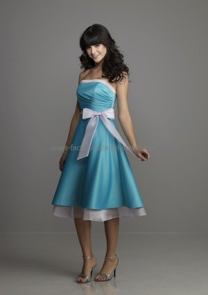 Strapless Short Bridesmaid Dress Brown Blue White Edge Homecoming Dress Free SASH Cocktail Dress