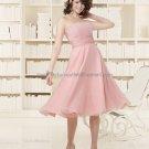 Strapless Short Bridesmaid Dress Pink Chiffon Homecoming Dress Pleated Beaded Cocktail Dress