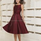 Double Straps Short Bridesmaid Dress Wine Taffeta  Homecoming Dress Pleated Beaded Cocktail Dress