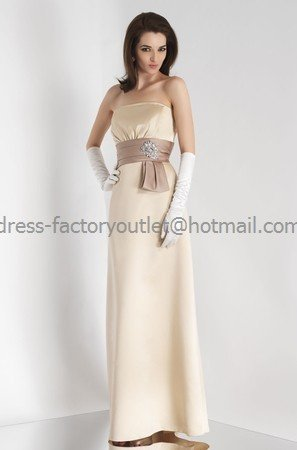 Straplesss Long Bridesmaid Dress Beige Satin Peach Pleated Bridal Evening Dress