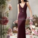 V-neck Long Bridesmaid Dress Brown Purple Chiffon Pleated Bridal Evening Dress