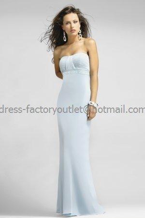 Strapless Long Bridesmaid Dress Blue Chiffon Pleated Sheath Beaded Bridal Evening Dress