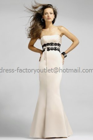 Strapless Long Bridesmaid Dress Beige Satin Champagne