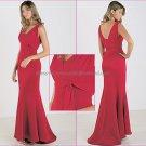 V-neck 2 Straps Long Bridesmaid Dress Red Satin Sash Pleated Bridal Mermaid Evening Dress