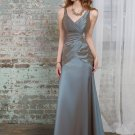 Sleeveless V- Neck Long Bridesmaid Dress Brown Blue Taffeta A-line Bridal Evening Dress MOQ 2 pieces