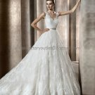 V-neck Long Sleeves Bermeo Jeweled Bridal Gown White Alencon Lace A-line Wedding Dress & Slip PV322A