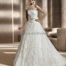 Free Bustle Strapless Berlin Bridal Gown White Alencon Lace  A-line Wedding Dress Beaded Sash