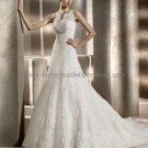 Free Crinoline Sleeveless Biance Bridal Gown Ivory White Alencon Lace A line Wedding Dress pv318