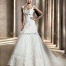 Free Crinoline Cap Sleeves Square Sagrera Bridal Gown White Alencon Lace A line Wedding Dress pV312