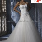 A-line Classical Bridal Gown Custom Strapless Applique Tulle Ivory White Wedding Dress