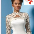 A-line Bridal Gown Strapless Embroidered Satin Beaded Ivory White Wedding Dress Free Lace Jacket