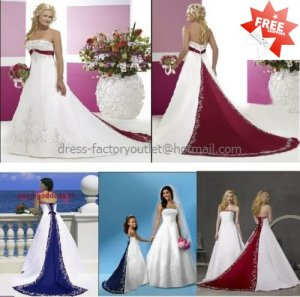 A-line Bridal Gown Strapless Embroidered Satin Red Blue Accent Ivory White Wedding Dress