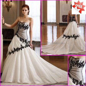 A-line Bridal Gown Strapless Black Lace Taffeta Accent Ivory White ...