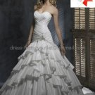 A-line Classical Bridal Gown Custom Strapless Tiered Pleated Taffeta Ivory White Wedding Dress