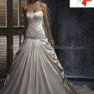 A-line Bridal Ball Gown Strapless Champagne Pleaded Satin Ivory White Wedding Dress W82