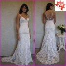Discount  Lace Bridal Gown Custom Spaghetti Straps Ivory White Mermaid Wedding Dress L12