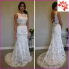 Discount  Alencon Lace Bridal Gown Boat Front V-neck Back Ivory White Wedding Dress L15