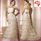 Discount Lace Edge Bridal Gown Strapless Sheath White Wedding Dress PV275 Gold Sash