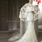Luxury Chantilly Lace Bridal Gown Wide Long Shawl Mermaid Wedding Dress L18