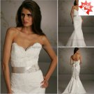 Strapless Alencon Lace Bridal Gown Strapless Beaded Mermaid Wedding Dress Free Sash L34
