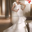Simple One Shoulder Bridal Gown Ruffled Satin Wedding Dress Zipper Back PV130