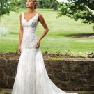 A-line Lace Bridal Gown Sleeveless V-neck Court Train Wedding Dress